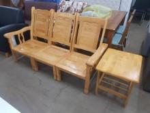 [9成新] 毅昌二手家具~三人座板椅+小茶几木製沙發無破損有使用痕跡