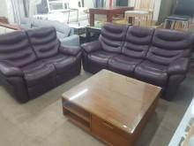 [9成新] 毅昌二手家具~半牛皮2+3沙發組多件沙發組無破損有使用痕跡