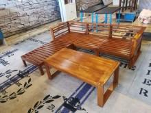[7成新及以下] 絕對超值詩肯柚木沙發組(含茶几)木製沙發有明顯破損