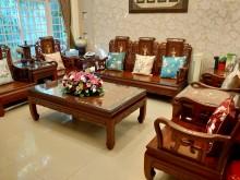 [9成新] 紅木家具-花梨木十件組木製沙發無破損有使用痕跡