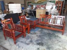 [8成新] 八成新原木實木大理石木沙發組木製沙發有輕微破損